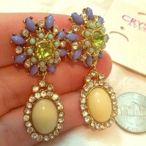 Crystal Avenue crystal floral dangle clip earrings